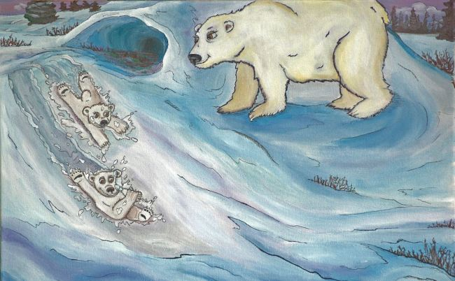 Illustration of Marco Polo Bear and sibling sliding on snow in front of mother bear.