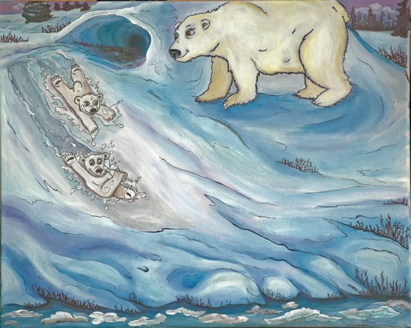 Illustration of Marco Polo Bear and his sibling sliding in snow under watchful eye of mother bear.