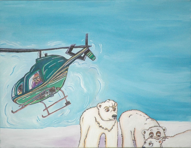 Research helicopter hovering over three bears.