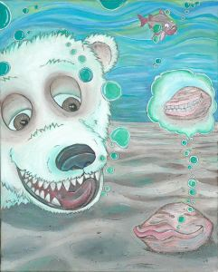 Illustration - Marco Polo Bear underwater with Calvin Clam